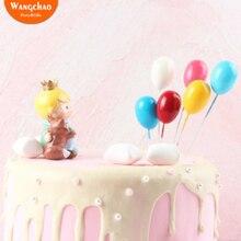 6 шт./пакет разноцветные пены воздушных шаров тортов и фигурки жениха и невесты; Happy топперы для торта на день рождения Baby Shower украшения Свадебные украшения для торта для вечеринки
