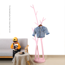 Бельевая напольная вешалка для спальни Вешалка из цельной древесины розовая вешалка для одежды Детская