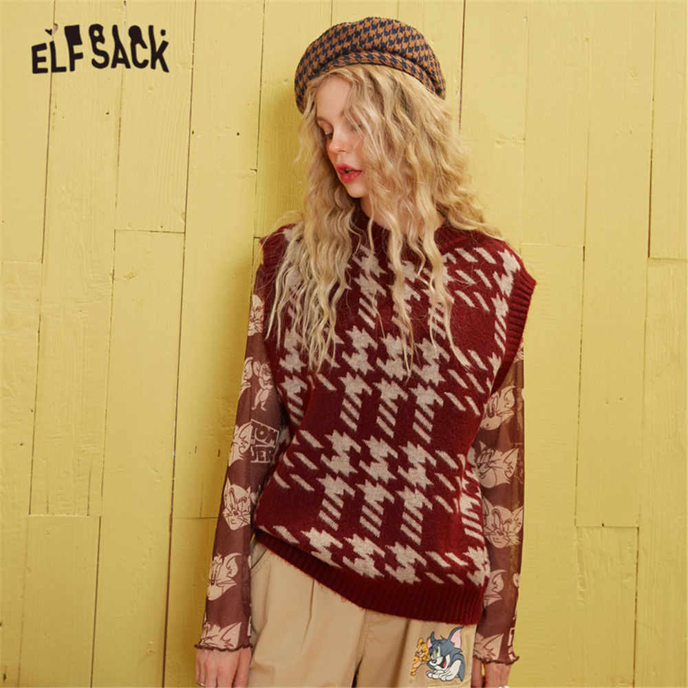 ELFSACK Red Houndstooth Korean Knit Pullover Women Sweater Vest 2020 Spring Green V Neck Sleeveless Casual Ladies Daily  Top