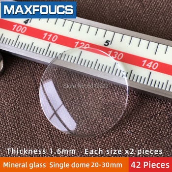 Table glass mineral glass  Single  dome  thickness  1.6  mm diameter 20 mm ~ 30mm  Each size x 2 , A total of  42 pieces