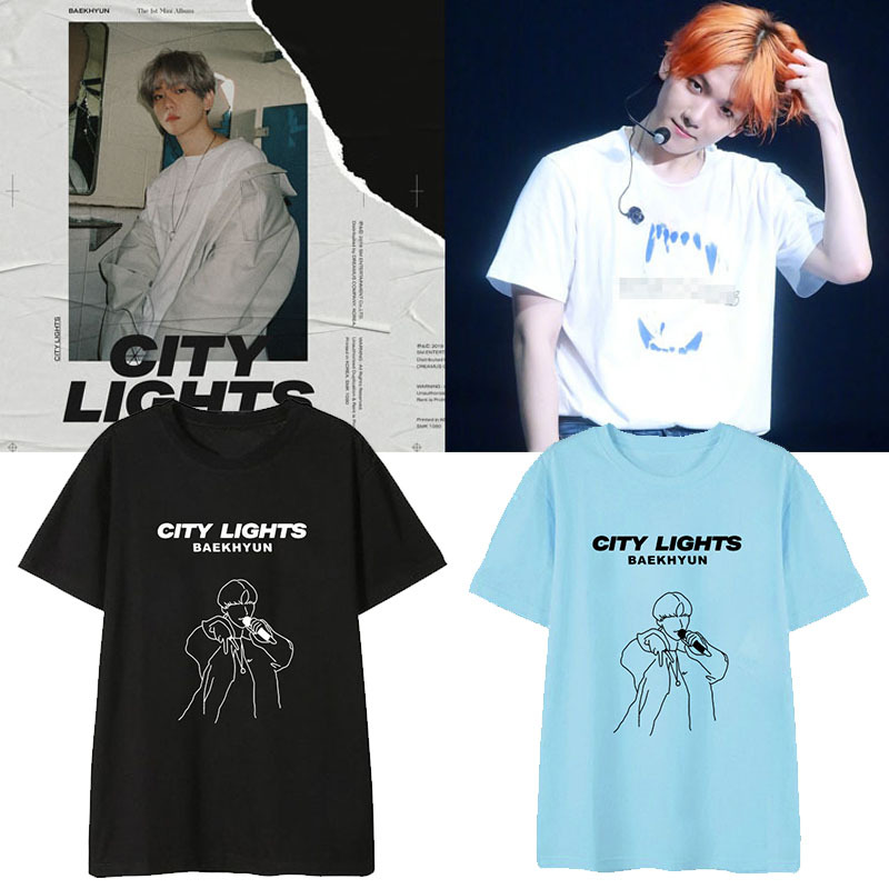 Kpop EXO BAEKHYUN City Lights Album Shirts Hip Hop Casual Loose Clothes Tshirt T Shirt Short Sleeve Tops T-shirt DX1161