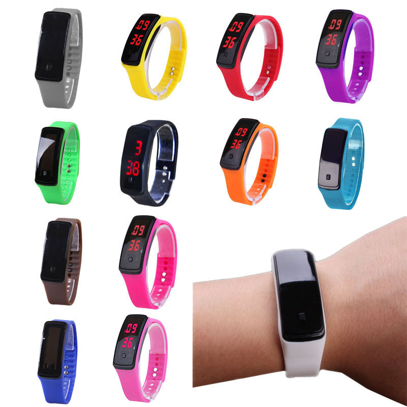 Fashion Sport LED Women Watches Candy Color Silicone Rubber Touchscreen Digital Watches Waterproof Bracelet Wrist Watch Hot TY53