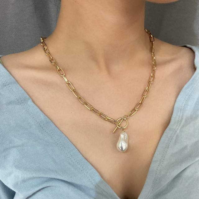 lovely rectangle chain with pearl drop necklace 2