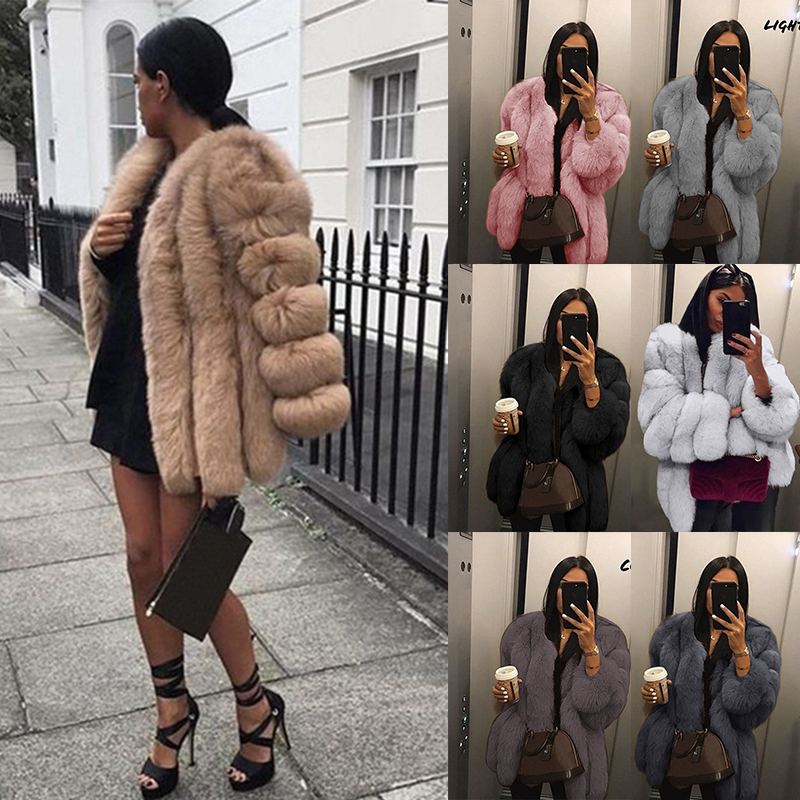 Faux Fur Coat Women Vintage Fluffy Thick Open Stitch Warm Long Sleeve Teddy Luxury Soft Fur Jacket Female Plus Size Outwear 5XL