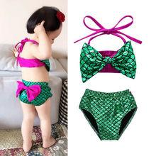 Детский летний купальник-бикини для маленьких девочек с русалочкой, детский пляжный купальник, танкини для купания, пляжный костюм для детей от 0 до 24 месяцев