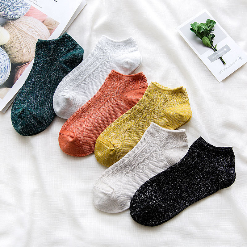 Woman's Fashion Socks Women Socks Spring Short Solid Color Silk Retro Women Fashion Socks For Women Short Ankle Socks