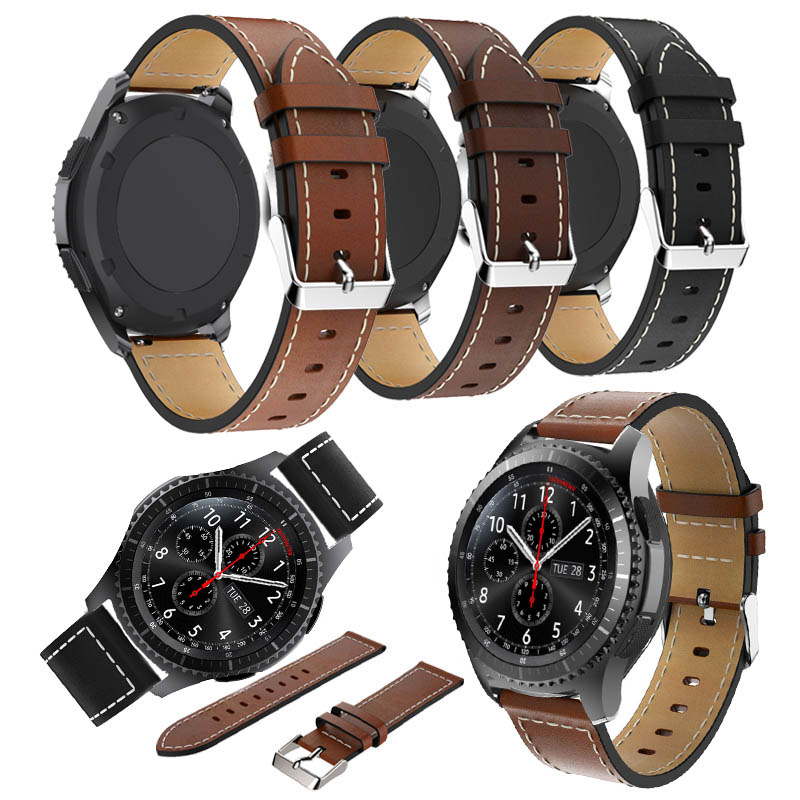 Genuine Black <font><b>Leather</b></font> for <font><b>Samsung</b></font> Gear S3 sports style Frontier Classic Watch Band for <font><b>Samsung</b></font> Galaxy watch <font><b>46mm</b></font> pace lite strap image