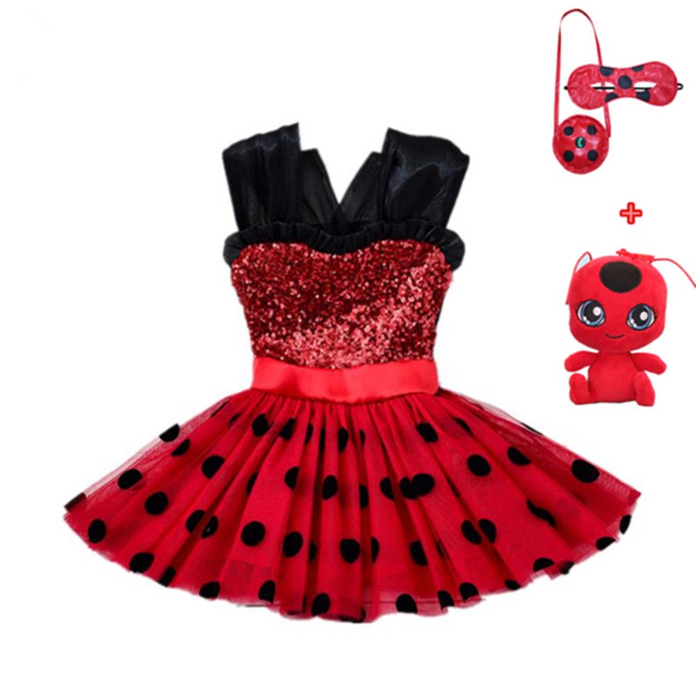 Marinette Ladybug Cosplay Red Pretty Girls Dress Summer Clothes Lady Bug Party Dress Children's Day Lace Dot Baby Girls Dresses