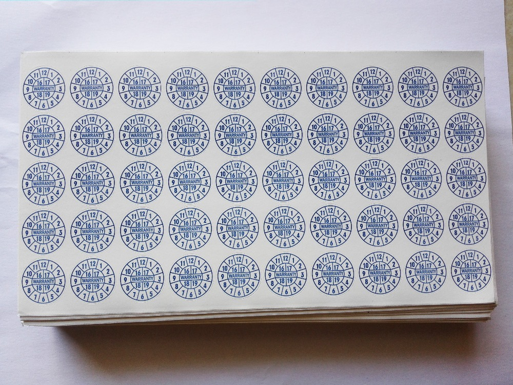 1000 pçs lote Garantia adesivo etiqueta de