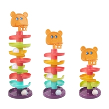 New  1Set Ball Drop Toy Montessori Stacking Block Interactive Educational Rotary Slide Toy with Basket Hoop Baby Sensory Toy