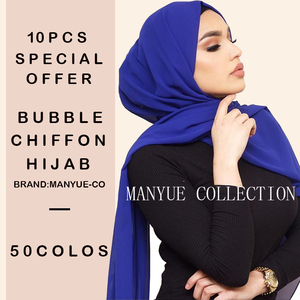 Image 1 - 10pcs/lot Women Chiffon Scarf Plain Bubble Chiffon Hijab Wrap Solid Color Head Shawls Headband Muslim Hijabs Scarves Bandanas