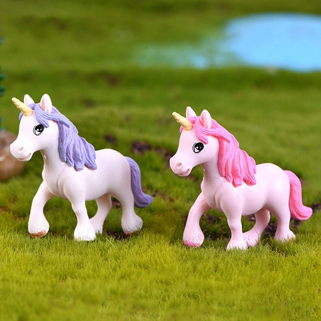 1Pcs Cute Unicorn Miniatures Figurines Fairy Garden Ornaments Craft Micro Landscape DIY Home Decoration Accessories Random Color 4