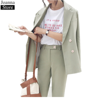 Spring Autumn New Women Full Sleeve Suit Set Jacket & Pant Black Lapel Oversized Office Sets Female Casual Pant Suits For Ladies