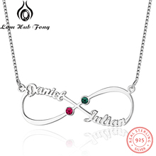 купить Custom 925 Sterling Silver Name Necklace Personalized Birthstone Necklace Gold Color Infinity Necklace for Couple(Lam Hub Fong) дешево