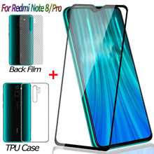 купить 3-in-1 Front + Back Screen Protector for Xiaomi Redmi Note 8 Pro Tempered Glass Redmi Note 8 Guard Film Redmi-Note-8-Pro Glass онлайн
