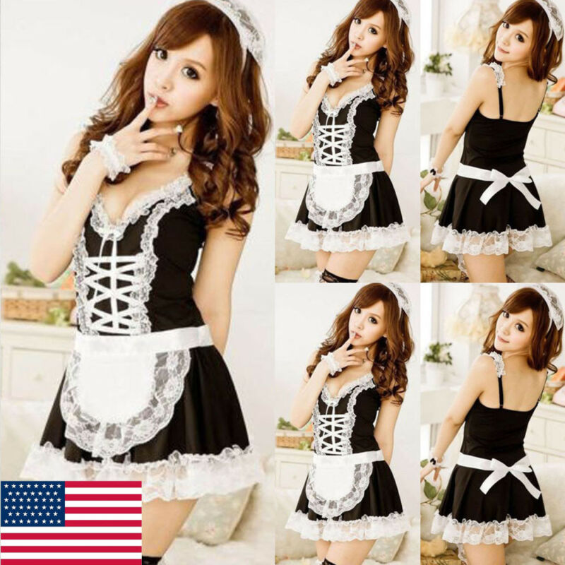 Japanese Lolita Apron Maid Dress Uniforn Anime Babydoll Chemise Cosplay Costumes Princess Outfit One Size