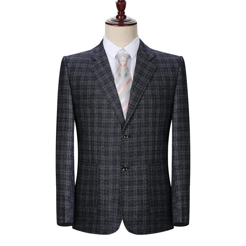 Autumn Spring Man Elegant Blazer Gray Blue Small Plaid Checked Suit Jacket Male Business Casual Notchec Collar Blazer Outfit Men