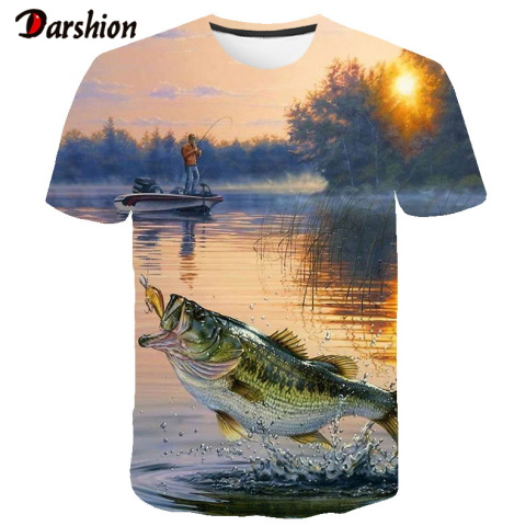 3D T Shirt Men Short Sleeve Shirt Animal Fishing 3D Print Tee Cloud Sun 3D Tshirt Cool Mens Clothing Fashion Man O-neck Top Tees