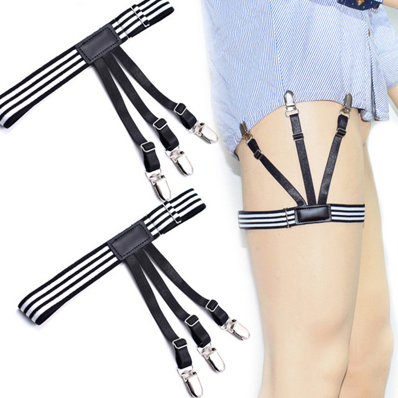 1 Pair Fashion Elastic Adjustable Men's Shirt Stays Holder Leg Suspensorio Shirt Garters Accessories Shirts Braces Uniform Strap