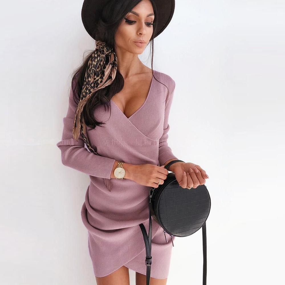 2020 New Women Autumn Sweater Dress Winter Long Sleeve Knited Dress Irregular Bodycon Off Shoulder Slim Dresses Vestidos Mujer