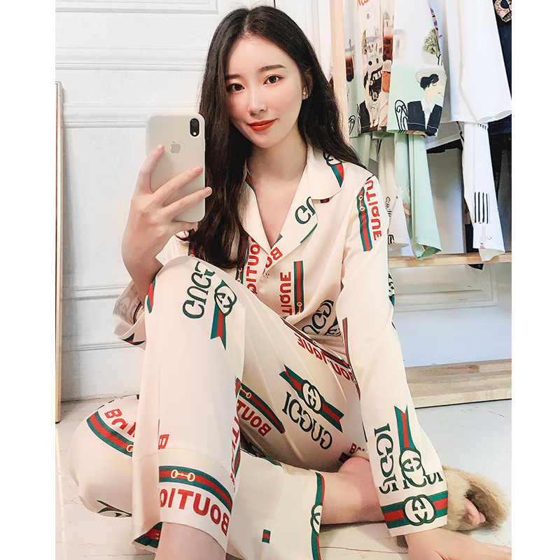 Ins Pajamas Female Spring Summer Net Red Explosion Models Big Satin Long-Sleeved Two-Piece Suit Home Wear Sexy Pijama Mujer