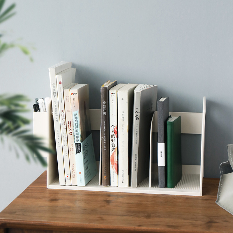 Japanese Style Multifunction Bookshelf Students Books Storage Rack with Pen Holder Plastic Desktop Stationery Organizer Storage
