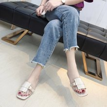 Liren 2019 Summer Fashion Sexy Lady Casual Slippers Square Open Toe Flat Heels Comfortable Breathable Women