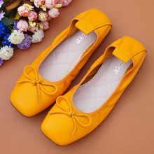 AUCVEE Bow Ballet Flats Shoes Woman Genuine leather Ballerina Shoes Classic Slip On Zapatos De Mujer Sapato Feminino Big Size 43 vtota women flats fashion woman casual single shoes sapato feminino slip on flat shoes woman zapatos mujer ladies shoes b34
