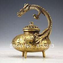 Китайский винтажный ручной работы Статуэтка бронзового дракона благовония горелки