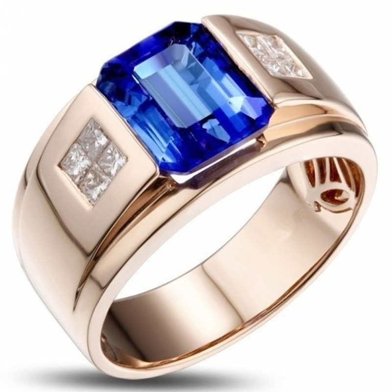 Fashion Men's Accessories Zircon Stainless Steel Men's Ring Engagement Wedding Ring Four Colors Available(China)