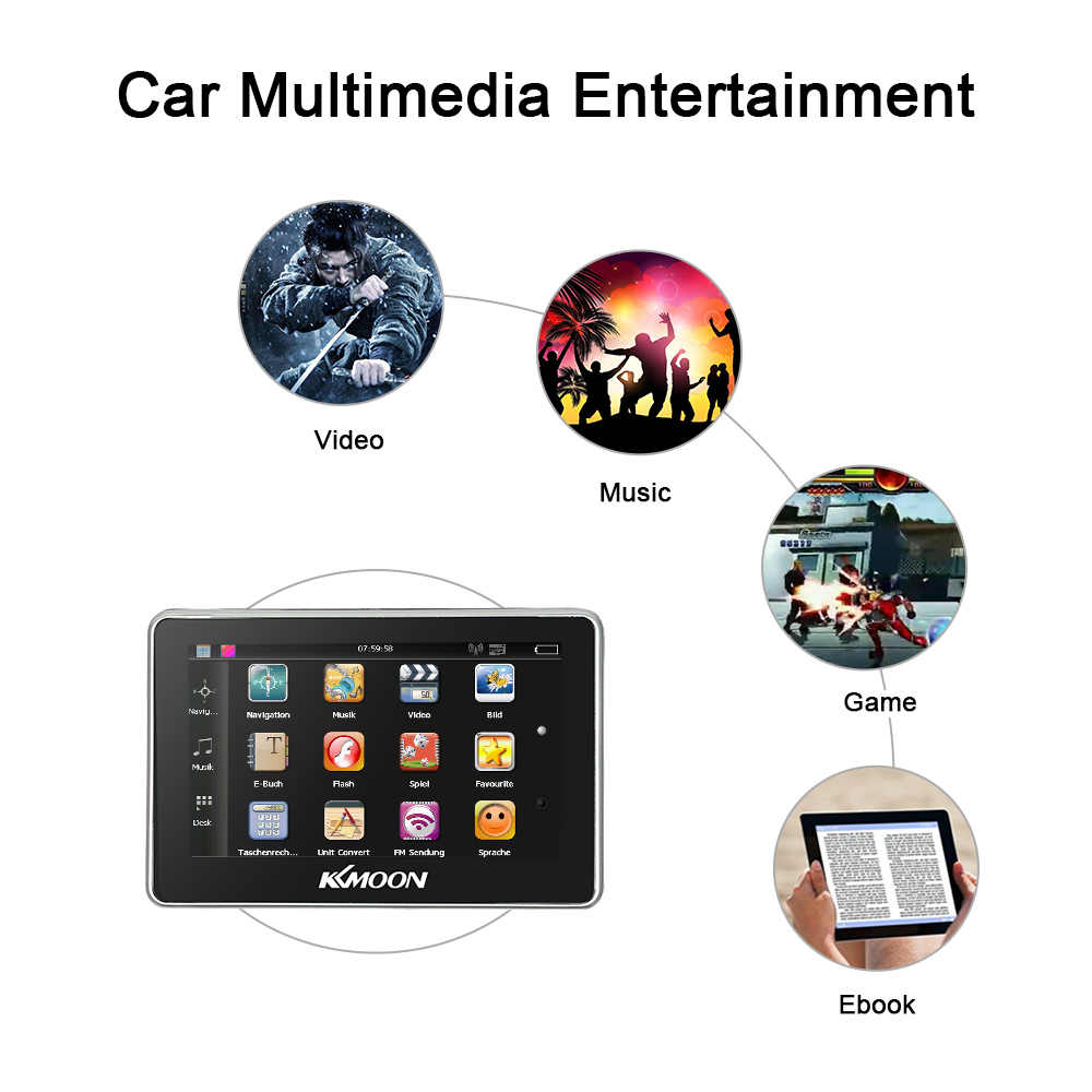 KKmoon 4.3 inch Car Portable GPS Navigation FM Video Player Car Navigator with Back Support +Free Map HD Touch Screen