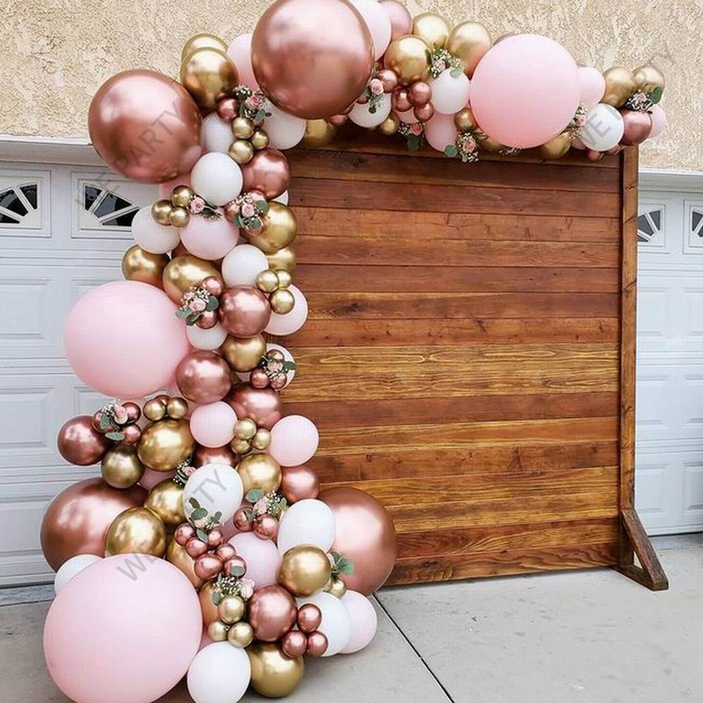101pcs Chrome Rose Gold Balloons Garland Arch Kit Pink White Balloon for Baby Shower Wedding Birthday Party Decor Globos