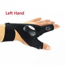 Светодиодный рыболовные перчатки с подсветкой, противоскользящие перчатки с двумя пальцами, защита для пальцев, спортивные дышащие аксессуары, защита для правой руки