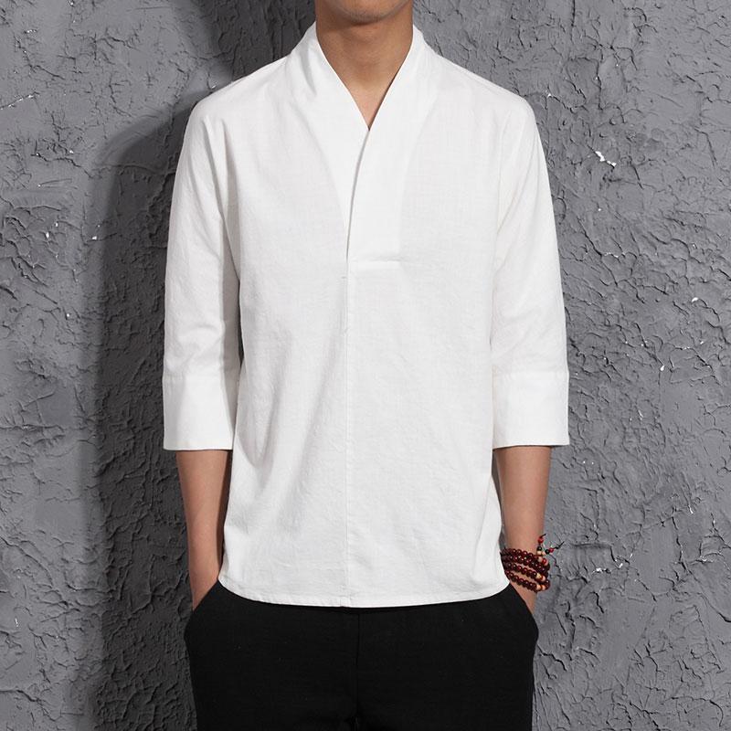 Men Harajuku Cotton Linen Tshirt 2020 Mens Summer Solid Streetwear Fashions White Tshirts Male Summer T-shirts