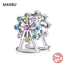 new fashion pandora charms silver 925 original Ferris wheel with CZ beads for jewelry making Accessories women anniversary gift