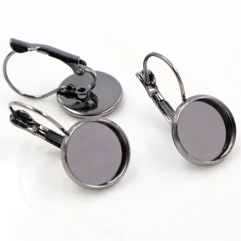 12mm 10pcs Gun Black Plated French Lever Back Earrings Blank/Base,Fit 12mm Glass Cabochons,Buttons;Earring Bezels (L3-04)