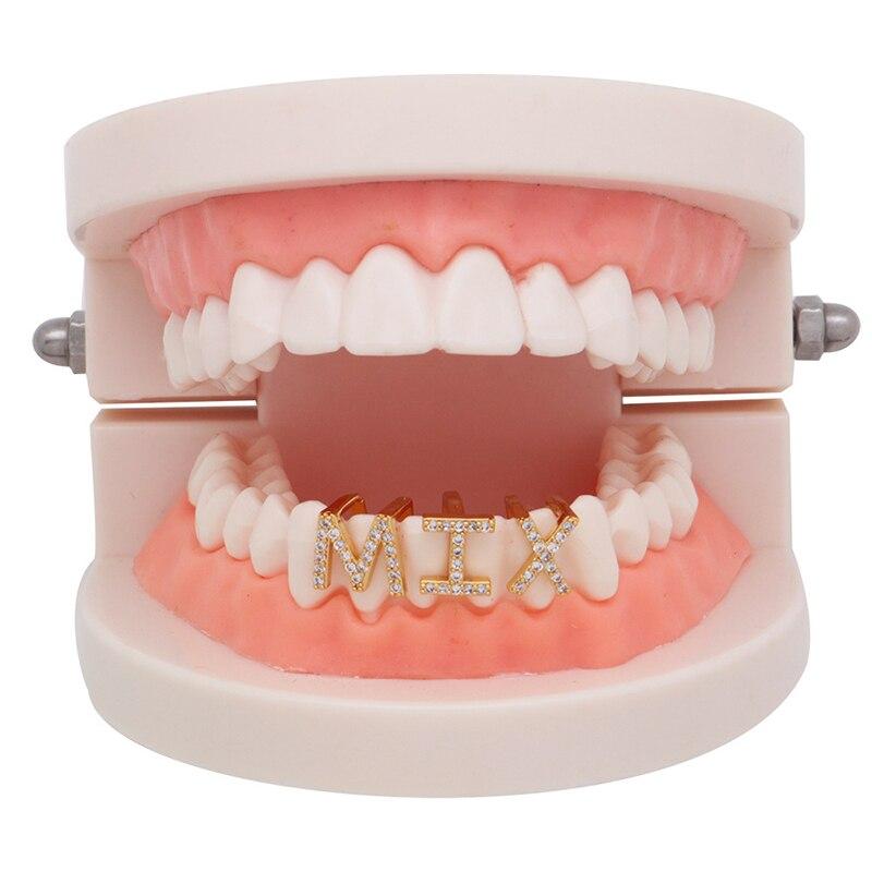 Hip Hop Moda Denti Tappi di Cristallo Singolo Denti Copertura 26 Lettere di Colore Dell'oro Bretelle Griglie Dente della Protezione di Cosplay Del Partito Dei Monili regali