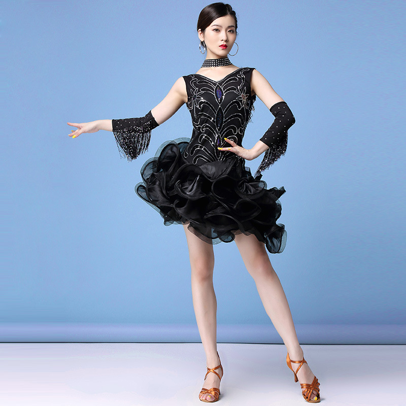 Women Dance Clothes Mini Dress Tutu Salsa Costume Samba Sleeveless Sequins One-piece Latin Dresses (Dress + Gloves + Necklace)