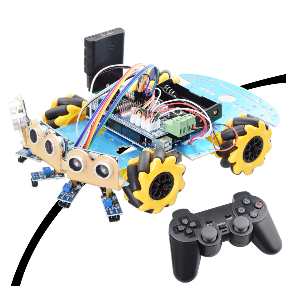 Line Tracking Obstacle Avoidance Mecanum Wheel Robot For Arduino Starter Kit Smart Car With PS2 RC Robotics Educational STEM Toy