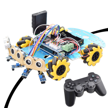 Line Tracking Obstacle Avoidance Mecanum Wheel Robot for Arduino Starter Kit Smart Car with PS2 RC Robotics Educational STEM Toy smart car tracking robot 4 line sensor module infrared tracing black line identification agtech