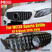 For Mercedes W238 Coupe Front Grille Grill GT R Style W/Camera ABS Gloss Black E200 E250 E300 E350 400 500 E63 Look Grills 16-18