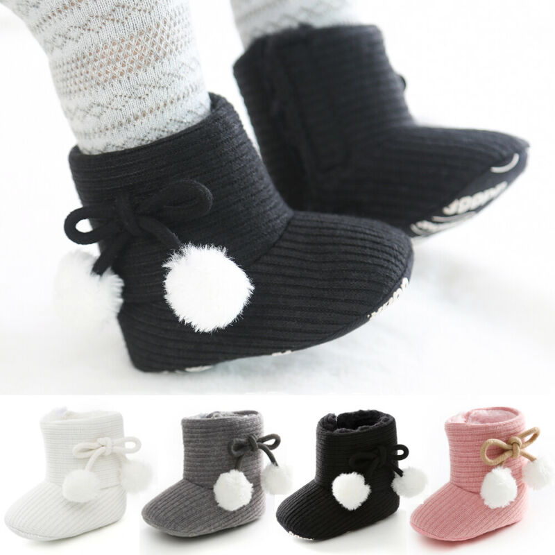 Hot Winter Boy Girls Baby Solid Soft Cotton Sole Snow Boots Warm Crib Shoes Toddler Boots Walk UK