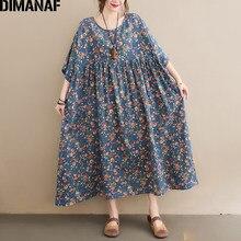Dimanaf plus size vestido de verão das mulheres vestidos de verão prairie chic flores imprimir vestido longo oversized 2021 solto roupas casuais