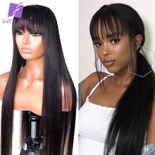 Длинные прямые полностью кружевные человеческие волосы парики с челкой 150% плотность бесклеевая Remy бразильские волосы отбеленные узлы для женщин Луффи