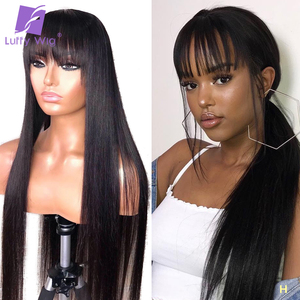 Image 1 - Long Straight Full Lace Human Hair Wigs With Bangs 150% Density Glueless Remy Brazilian Hair Bleached Knots For Women LUFFY