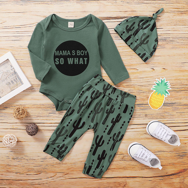 Children Winter Clothes Infant Baby Boys Catoon Letter Print Romper+cartoon Pants+hat Outfits Kids Clothes 2020 Baby Girl Clothe