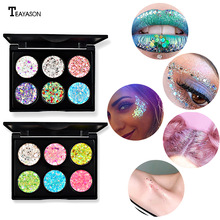Six-color sequin eyeshadow gold onion mermaid Ji five-pointed star heart-shaped gel sequin show dating makeup star shaped sequin manicure