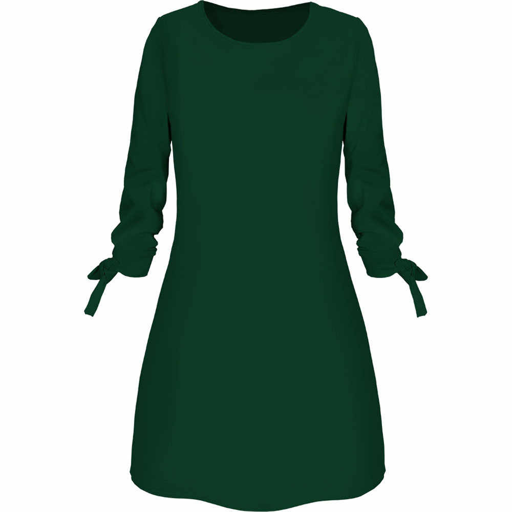 2019 Lente Nieuwe Mode Effen Kleur Jurk Casual O-hals Losse Jurken 3/4 Mouw Boog Elegante Strand Vrouwelijke Vestidos Plus Size