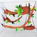 Новые Теплые клетка мягкие игрушки игрушка для маленьких домашних животных канатной игрушечный домик дрель гнездо трубки лес Pet пень с изоб...