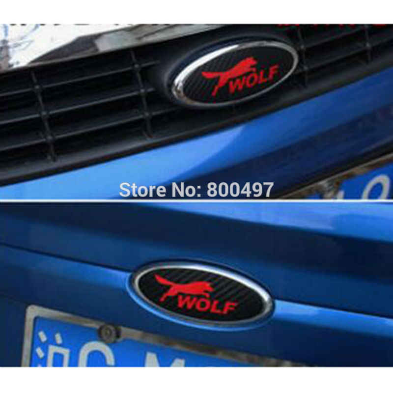 2 x ใหม่ออกแบบรถยนต์โลโก้รถสติกเกอร์คาร์บอนไฟเบอร์ไวนิล Decal หมาป่าสัญลักษณ์สำหรับ Ford Focus MK 1 Focus MK 2